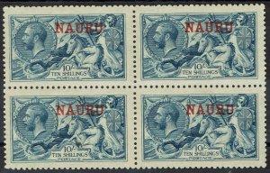 NAURU 1916 KGV SEAHORSES 10/- PALE BLUE MNH ** BLOCK