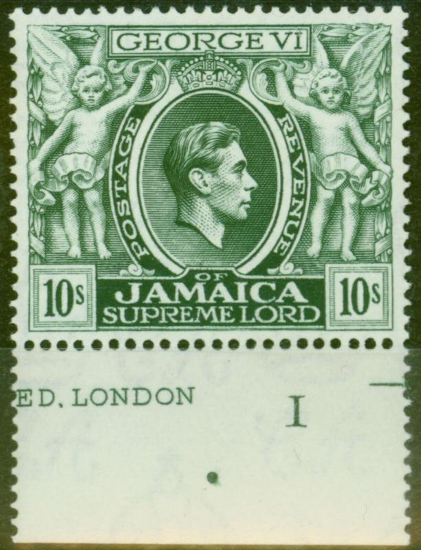Jamaica 1938 10s Myrtle-Green SG133 V.F Very Lightly Mtd Mint