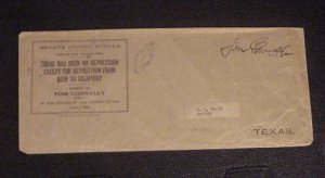 1934 US SENATE OFFICIAL COVER FROM TEXAS SENATOR TOM CONNALLY TO J. L. BAKER