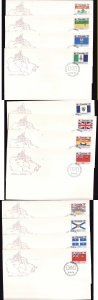 Canada-Sc#821-32-stamps on 12 FDCs-Provinces and Territories-1979-