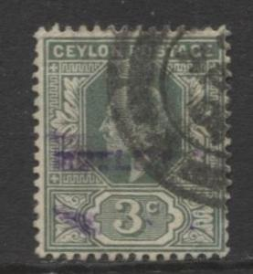 CEYLON -Scott 167- KEVII - Definitive- 1903- Wmk 2- Used -Single 3c Stamp