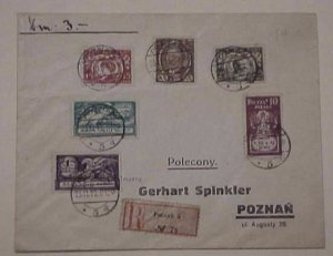 POLAND  SET OF 6 REGISTERED POZNAN 1919 NOV 25