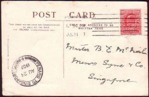 MALAYA 1907 postcard ex UK - PENANG TO SINGAPORE marine post cds