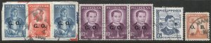 PHILIPPINES O.B. Official Overprints x 8 used, F-VF