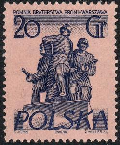 POLOGNE / POLAND 1956 Mi910 20gr Polish-Soviet Armies Alliance Sculpture Mint NH