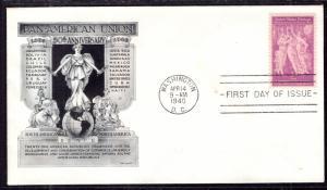 US 895 Pan American Union Aristocrats Pencil FDC