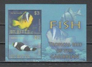 St. Kitts, Scott cat. 757. Tropical Fish s/sheet. *