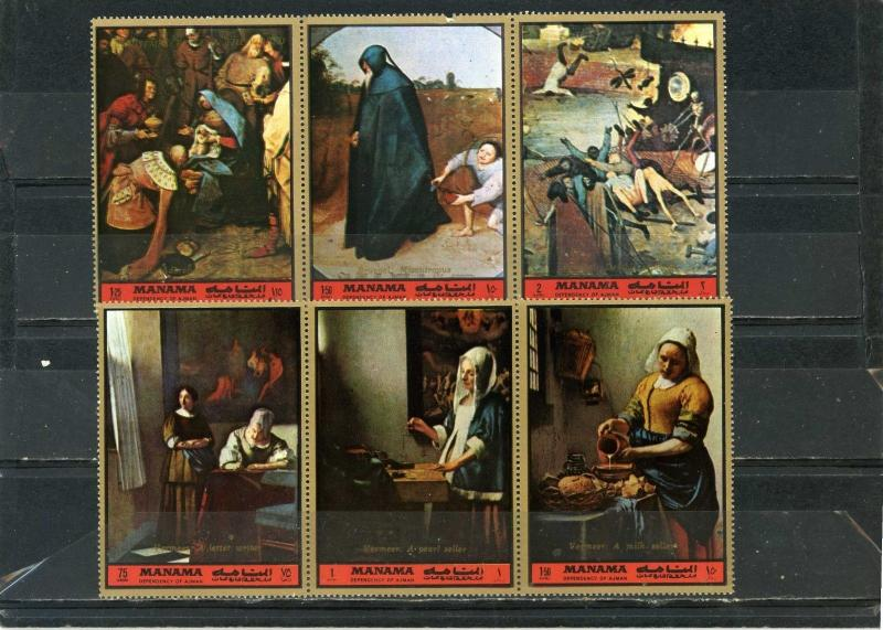 MANAMA 1972 PAINTINGS BY VERMEER & BRUEGEL 2 STRIPS OF 3 STAMPS MNH