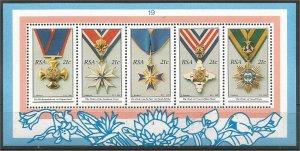 SOUTH AFRICA, 1990, MNH SS, National Decorations Scott 801a