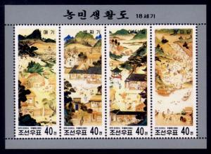 Korea (North) Sc# 3949 MH HR 18th Century Paintings (M/S)