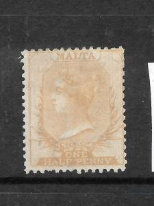 MALTA  1863-81  1/2d  ORANGE/BROWN   QV   MH  SG 6