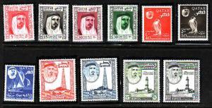 Qatar-Scott#26-36-Unused Lightly hinged definitive set-1961-