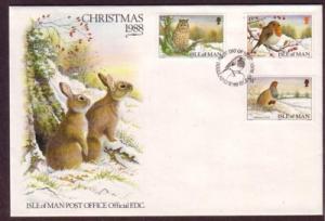Isle of Man Sc 377-9 1988 Christmas stamp set FDC