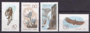 Norway 1970 Scott 551-554 European Nature Conservation Year.Wolf Eagle VF/NH(**)