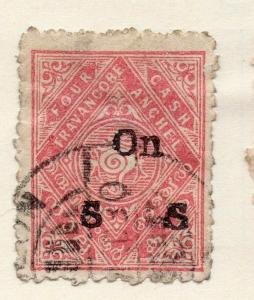 Travancore 1908 Early Issue Fine Used 4ch. Optd 191275
