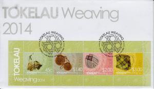 Tokelau 2014 FDC Weaving 4v M/S Cover Culture Taulima Pupu Tapili Ato