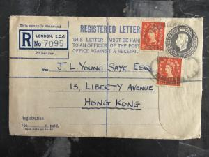 1953 London England Registered Uprated PS Envelope Cover to Hong Kong