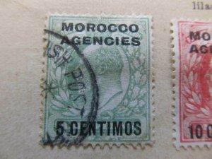 British Morocco 1907-10 5c on ½p fine used stamp A11P30F12