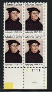 ALLY'S STAMPS US Plate Block Scott #2065 20c Martin Luther [4] MNH OG [STK]