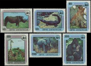 Central African Republic 1978 Sc 323-328 Rhino Crocodile Cheetah Giraffe $34.10