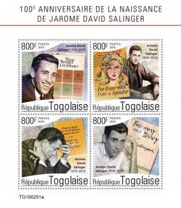 TOGO- 2019 - J D Salinger, 100th Birth Anniv - Perf 4v Sheet  - MNH