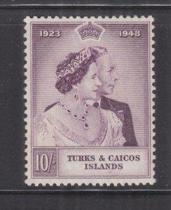 TURKS & CAICOS ISLANDS, 1948 Silver Wedding 10s., mnh..