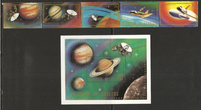 Lesotho 319-20 1981 Voyager strip FOLED and s.s. MNH