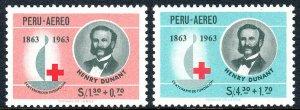 Peru CB6-CB7, MNH. International Red Cross Centenary. Henri Dunant, Emblem, 1964