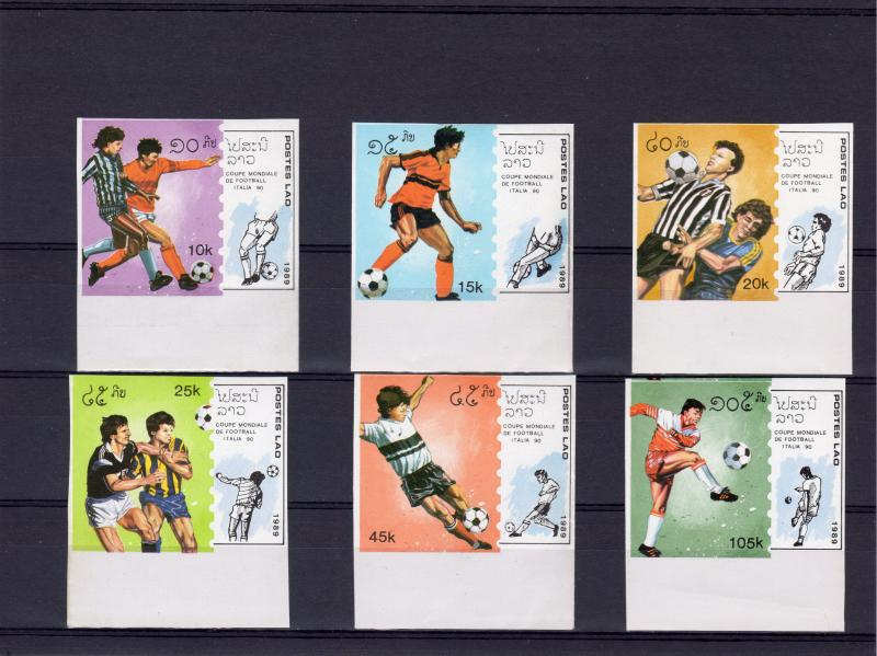 Laos 1989 Sc#902/907 Italy 90 Football World Cup (6) Set IMPERFORATED MNH