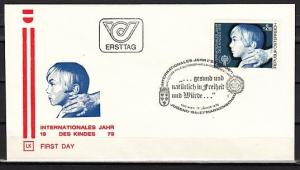 Austria, Scott cat. 1110. International Yr. of the Child issue. First day cover.