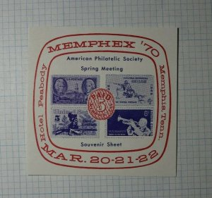 MEMPHEX Spring Meeting 1970 Hotel Peabody Philatelic Souvenir Sheet