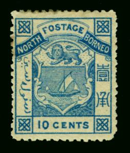 NORTH BORNEO  1886  Coat of Arms  10c blue  Scott # 13  mint MH