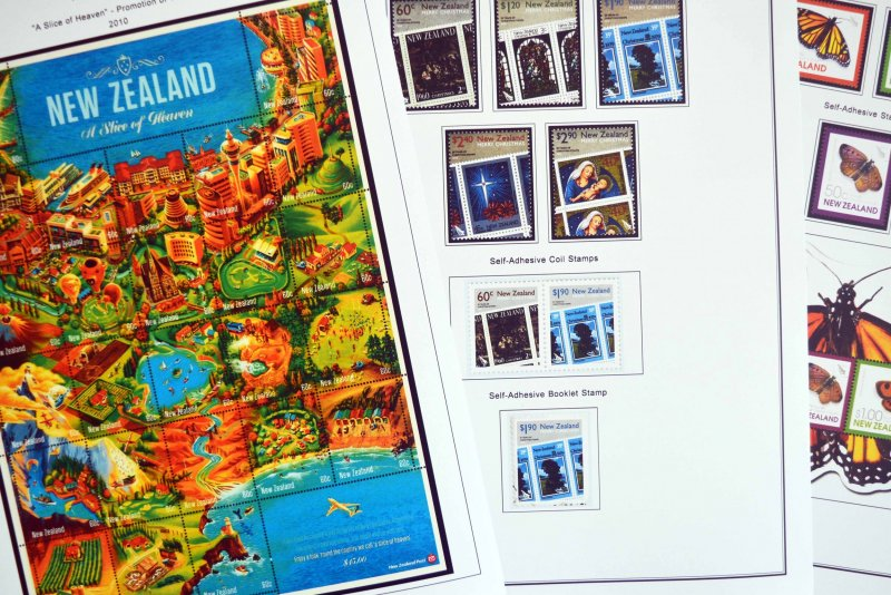 COLOR PRINTED NEW ZEALAND 2005-2010 STAMP ALBUM PAGES (80 illustrated pages)