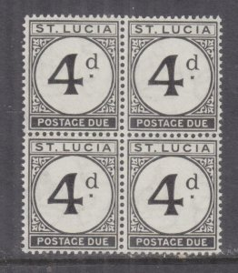St. LUCIA, POSTAGE DUE, 1947 4d. Black, block of 4, mnh.