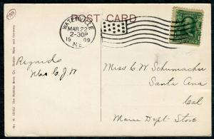 Postcard - Waterville ME TO Santa Ana CA - MAR 22 1909 THE EAGLES' HOME - S6409