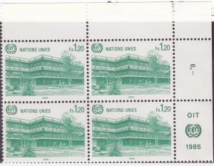 UN GENEVA MNH Scott # 130 ILO Corner Block (4 Stamps) -1