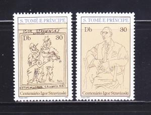 St Thomas and Prince Islands 660a-660b Set MNH Art, Picasso Caricatures