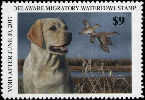 DELAWARE  #36  2016  STATE DUCK STAMP GREEN WINGED TEAL, YELLOW LAB