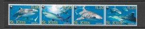 FISH - ST KITTS #678 (A)  TIGER SHARKS  WWF  MNH