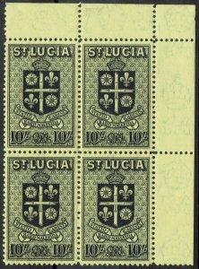 ST LUCIA 1938 ARMS 10/- MNH ** BLOCK
