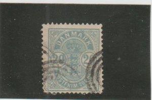Denmark  Scott#  40  Used   (1884 Arms)