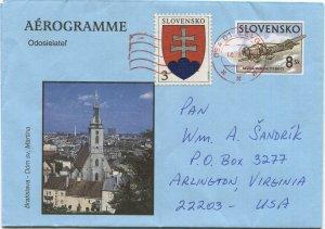 SLOVAKIA 1998 uprated 8sk Aerogramme + 3sk, LEVOČA to USA