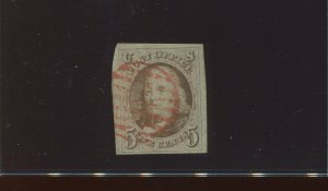 1 Franklin Imperf Used Stamp with Red Cancel with PF Cert (Stock 1 A31)