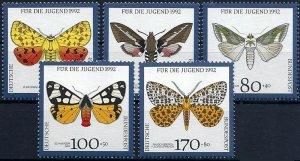 1992 BRD Gefährdete Nachtfalter, MiNr. 1602-1606 ** KAT 12€