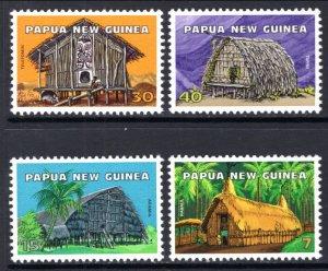 Papua New Guinea MNH 433-6 Huts Homes Architecture 1976