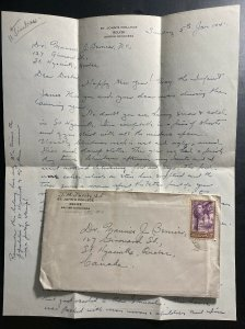 1941 Belize British Honduras St Johns College cover To Quebec Canada W Letter