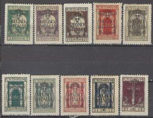COLLECTION LOT OF #1130  FIUME # 184-93 MH 1924 CV+$25