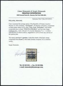 GENUINE POLAND SCOTT #21 USED OVERPRINT SISMONDO CERT GERMANIA  SOUND SCV $2250
