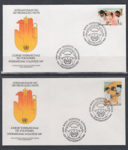 UN Vienna 82-83 Volunteer UN Postal Administration U/A Set of Two FDC