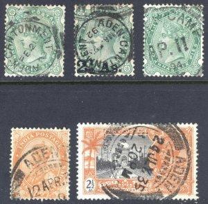 Aden 1883-1935 India QV & GV issues SG 97,102,103,199&244 Sc - FU Cat£-($-)